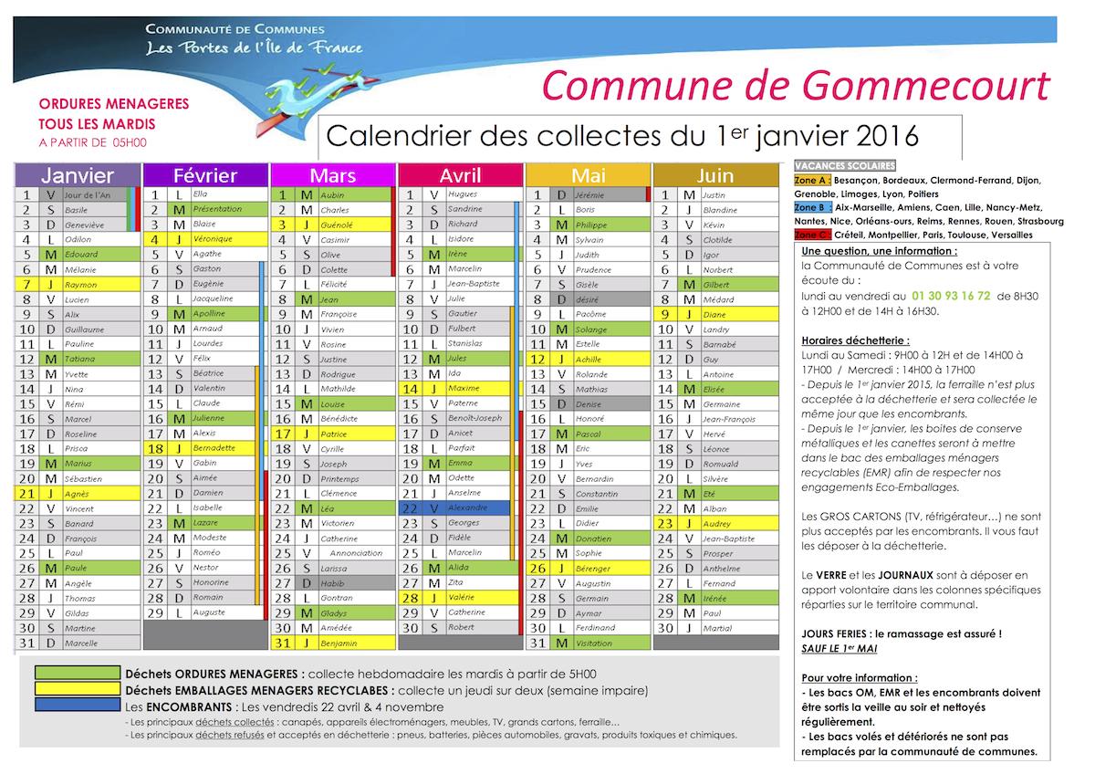 calendrier collecte 2016